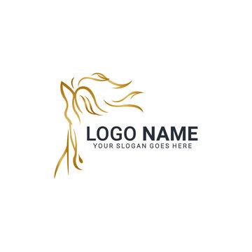 Modern gold abstract horse logo design. Animal logo design