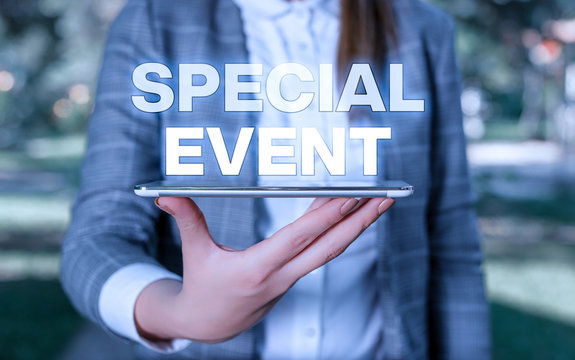 Word writing text Special Event. Business photo showcasing Function to generate money for non profit a Crowded Occassion Outdoor scene with business woman holds lap top with touch screen