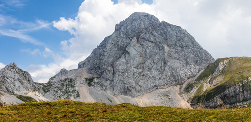 Western Wall Panorama of Mount Mangart (2677m) in the Julian Alps, Triglav National Park. Border between Slovenia and Italy. Europe
