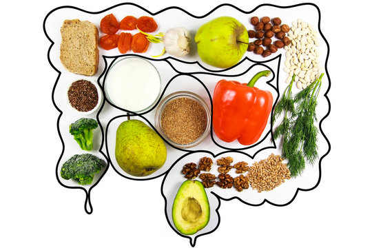 Food for bowel Health. Isolate on a white background