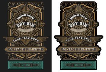 Old  label design for liquor. Vector illustration