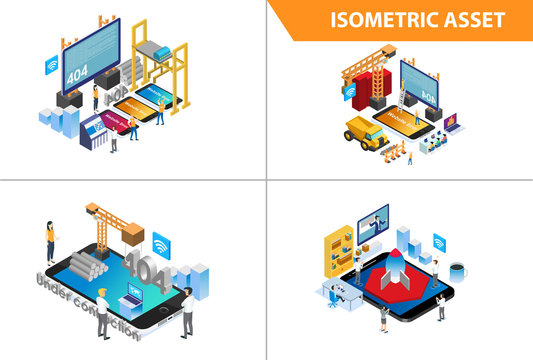 Modern 3d Isometric Set collection  Error 404 Under Construction Page, Illustration in White Isolated Background With People and Digital Related Asset