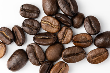 Roasted coffee beans background, Close Up mixture of different kinds of coffee beans.