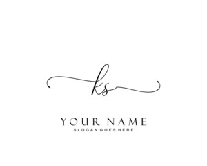 Initial KS beauty monogram and elegant logo design, handwriting logo of initial signature, wedding, fashion, floral and botanical with creative template