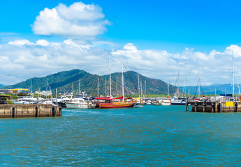 Port in Cairns, Australia. Copy space for text.