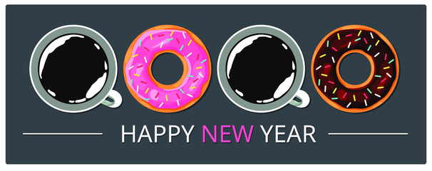 Symbol of the new year. Colorful picture. gray background. Vector illustration.