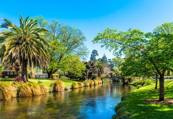 CHRISTCHURCH, NEW ZEALAND - OCTOBER 18, 2018: River landscape, Christchurch Botanic Gardens.