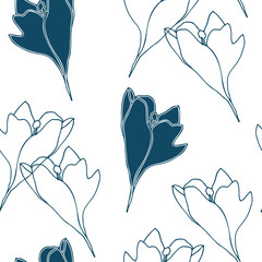 Crocus flowers pattern . Vector seamless background with modern floral outlines. Eps 10