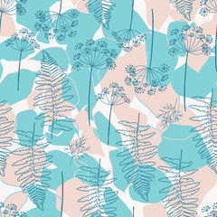 Vector seamless pattern with hand drawn dill or fennel flowers and fern leaves. Realistic plants outlines in pastel colors