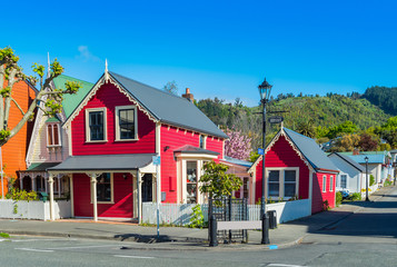 View of buildings on a historic south street, Nelson, New Zealand.