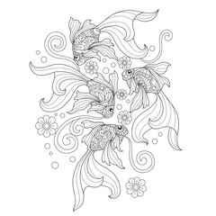 Hand drawn sketch illustration of goldfish for adult coloring book.