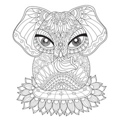 Hand drawn sketch illustration of Indian elephant for adult coloring book.