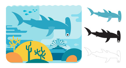 Hammer head shark icons. Flat vector illustration of hammer head shark. Decorative cute illustration for children. Graphic design elements for print and web.