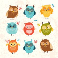 Wall Murals Owls cartoon Set cute owls. colorful birds. vector illustration.
