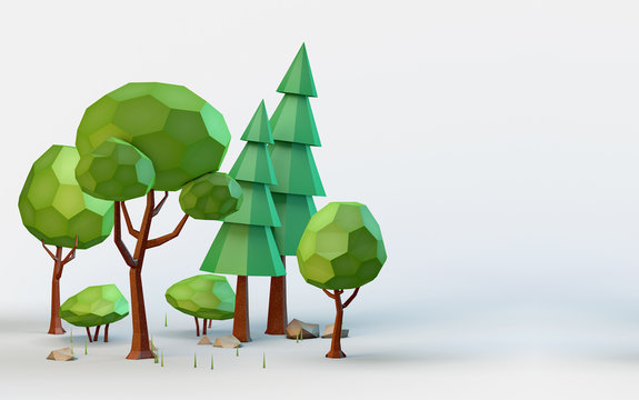 Conceptual polygonal summer trees in a low poly style. Template for banner, poster, flyer, cover, brochure, magazine page, etc.. 3D illustration