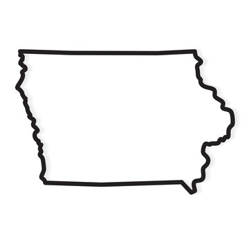 black outline of Iowa map- vector illustration