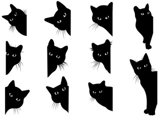 Fototapeta Set of black cats looking out of the corner. Collection of cat faces that spy on you. Playing pets. Tattoo. obraz