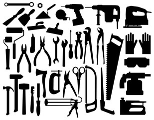 Set of building tools silouettes. Collection of appliances and power tools for builders. Black-white vector illustration.