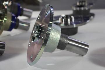 New car wheel hub closeup, new automotive parts