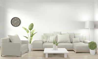 White living room with white sofa and decoration plants on floor wooden.3D rendering Wall mural