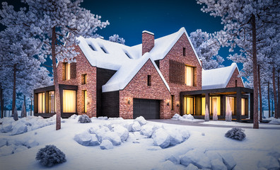 3d rendering of modern cozy clinker house on the ponds with garage and pool for sale or rent with beautiful landscaping on background. Cool winter night with warm cozy light inside.