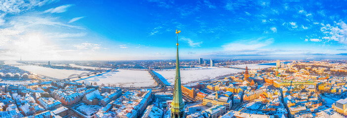 Beautiful Aerial Panoramic View of Golden Cock on the Top of the Dome Cathedral During Snowy Winter Time in Old Riga Town, Amazing Wallpaper - Image
