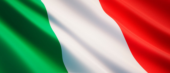 Waving flag of Italy - Flag of Italy - 3D illustration