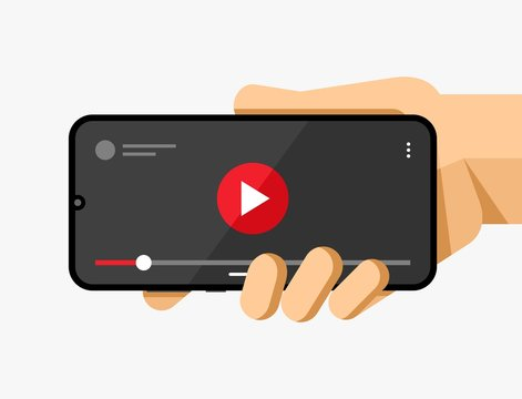Smartphone mockup in human hand. Video player application. Play, pause, slider button. EPS10 Vector