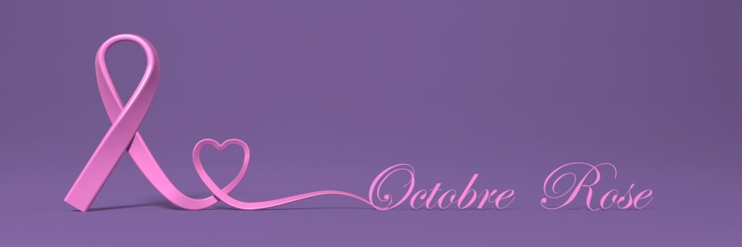Octobre rose avec ruban et coeur