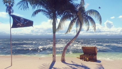 Sand, sea, sky, clouds, palm trees and summer day. Pirate island, chest of gold and pirate flag fluttering in the wind. 3D Rendering