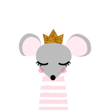 Cute mouse princess with gold sequin crown. Kids trendy print. Vector hand drawn illustration.