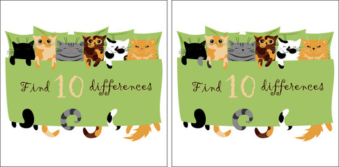 find 10 differences. vector image of cute cats for development. picture for children