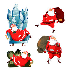 Santa Claus. set of vector images of Santa in different poses. Santa Claus with a bag of gifts