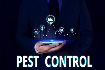 Text sign showing Pest Control. Business photo showcasing Killing destructive insects that attacks crops and livestock Male human wear formal work suit presenting presentation using smart device
