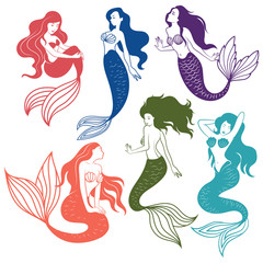 Set of silhouette mermaids. Collection of stylized mermaids. Vector illustration of mystical creatures for children.