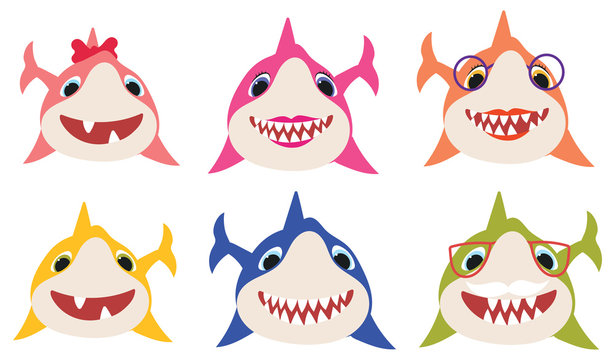 Set of cartoon shark family. Collection of stylized sharks for children. Vector illustration of cute predatory fish.