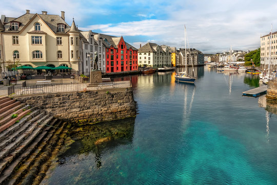Great summer view of Alesund port town on the west coast of Norway