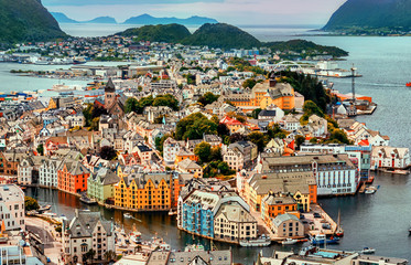 Alesund is a port and tourist city at the entrance to the Geirangerfjord.  Cityscape image of Alesund.