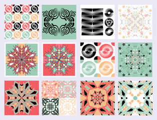 Vector graphic geometric elements and shapes, retro pattern set