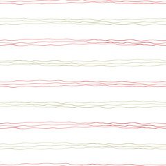 Strands of red and green hand drawn doodle lines in horizontal geometric design. Seamless vector pattern on white background. Great for wellbeing, seasonal products, packaging, stationery giftwrap