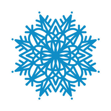 Snowflake icon. Blue silhouette snow flake sign isolated on white background. Flat design. Symbol of winter Christmas, New Year holiday. Graphic element decoration Vector hand drawn illustration