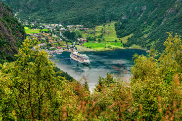 In de dag Noord Europa Beautiful aerial landscape view Geiranger village, harbor and fjord in More og Romsdal county in Norway.