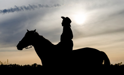 silhouette of a young girl with a hat on a horse on the background of the sunset sky