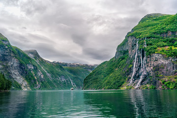Panoramic view of Geiranger fjord near Geiranger seaport, Norway. Norway nature and travel background.