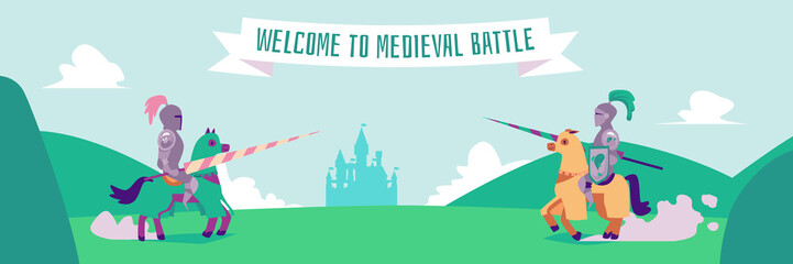 Welcome to medieval battle - flat cartoon banner of two nights in metal armor Wall mural