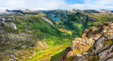 Wall Murals Northern Europe Beautiful aerial landscape view Geirangerfjord region in More og Romsdal county in Norway.