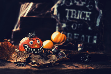 Happy Halloween concept. Trick or treat in autumn season. Scary and dark symbol at night.