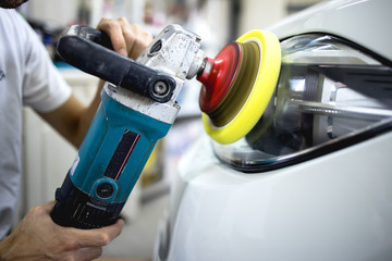 Car polishing details in workshop stock photo