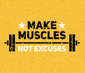 Hard and strong pumping gym flyer banner vector illustration. Make muscles not excuses inspiring workout and fitness motivation print flat style design. Healthy lifestyle concept