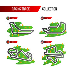 Acrylic Prints F1 set of grand prix race track. circuit for motorsport and autosport.